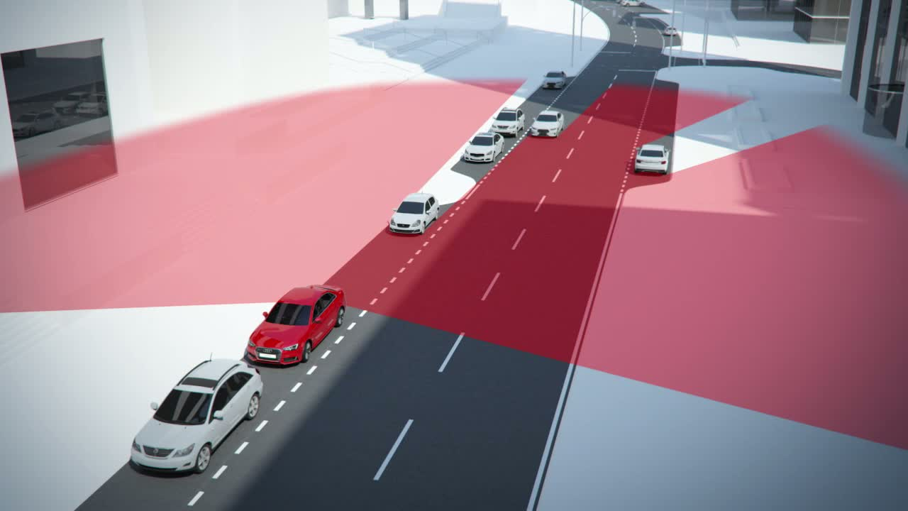 Audi A4 - Animation Ausstiegwarnung