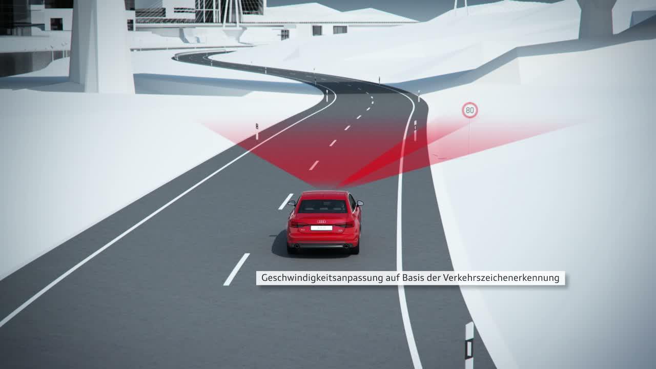 Audi A4 - Animation Prädiktiver Effizienzassistent mit ACC