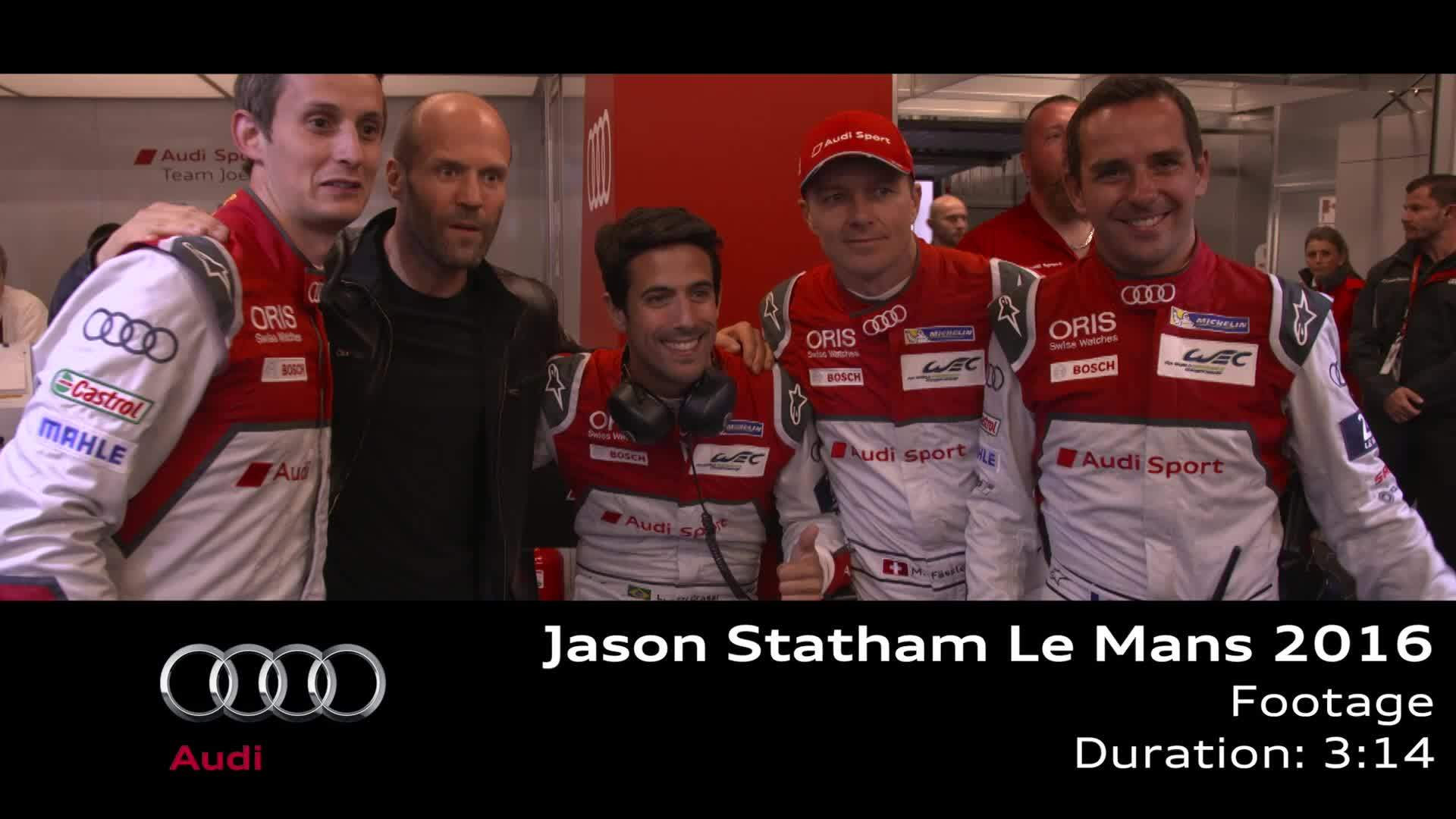 Jason Statham visits Audi at Le Mans - Footage