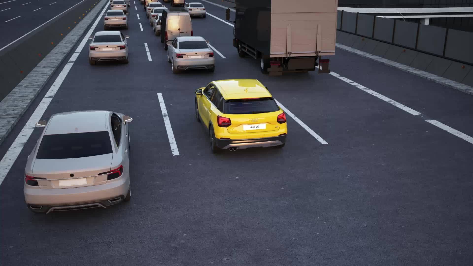 Audi Q2 - Animation traffic jam assist