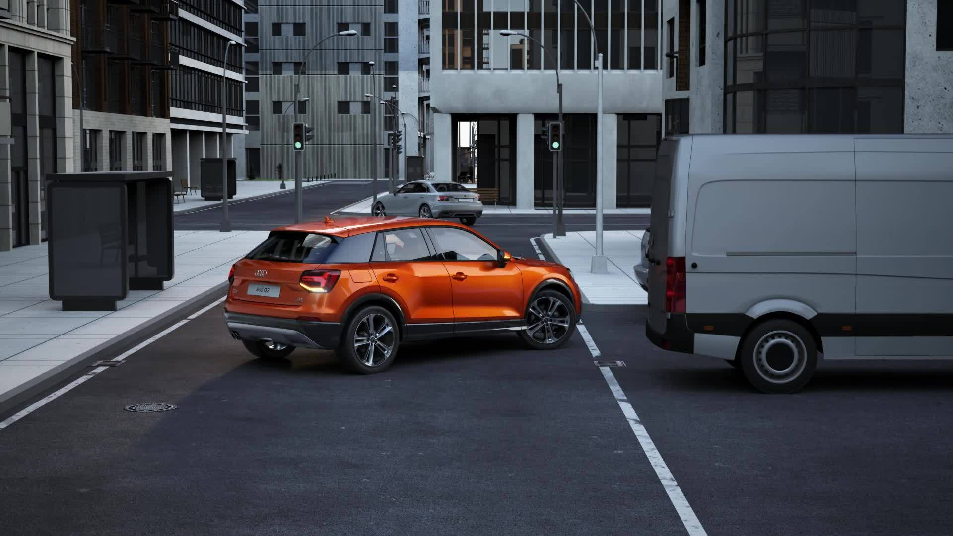 Audi Q2 - Animation rear cross-traffic assist
