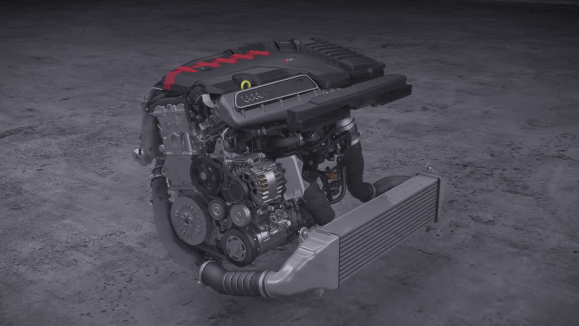 Animation inline five-cylinder engine
