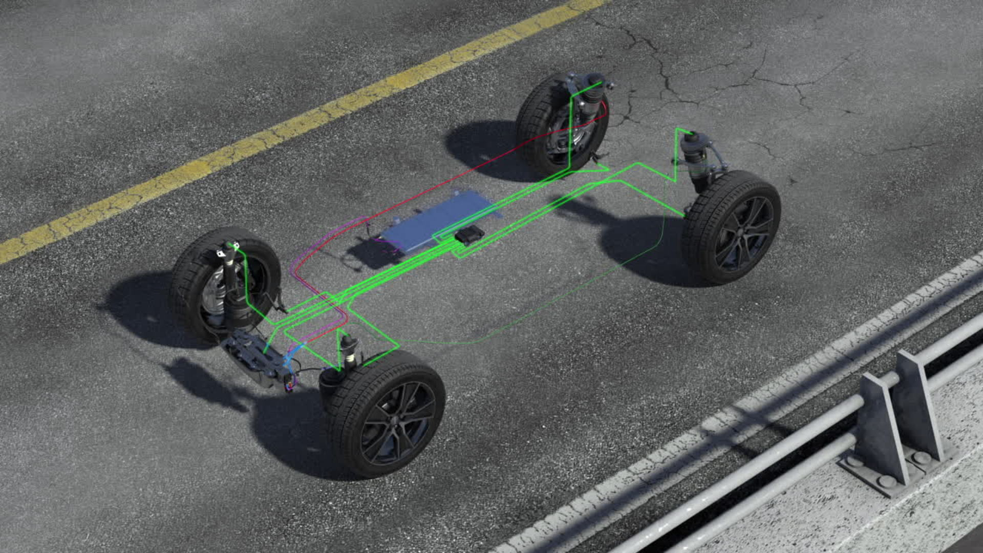 Audi Q5 – Animation Luftfederung mit Dämpferregelung