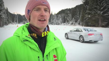 Eisfläche statt Schanze: DSV- & ÖSV-Skispringer beim Fahrtraining am Tournee-Ruhetag