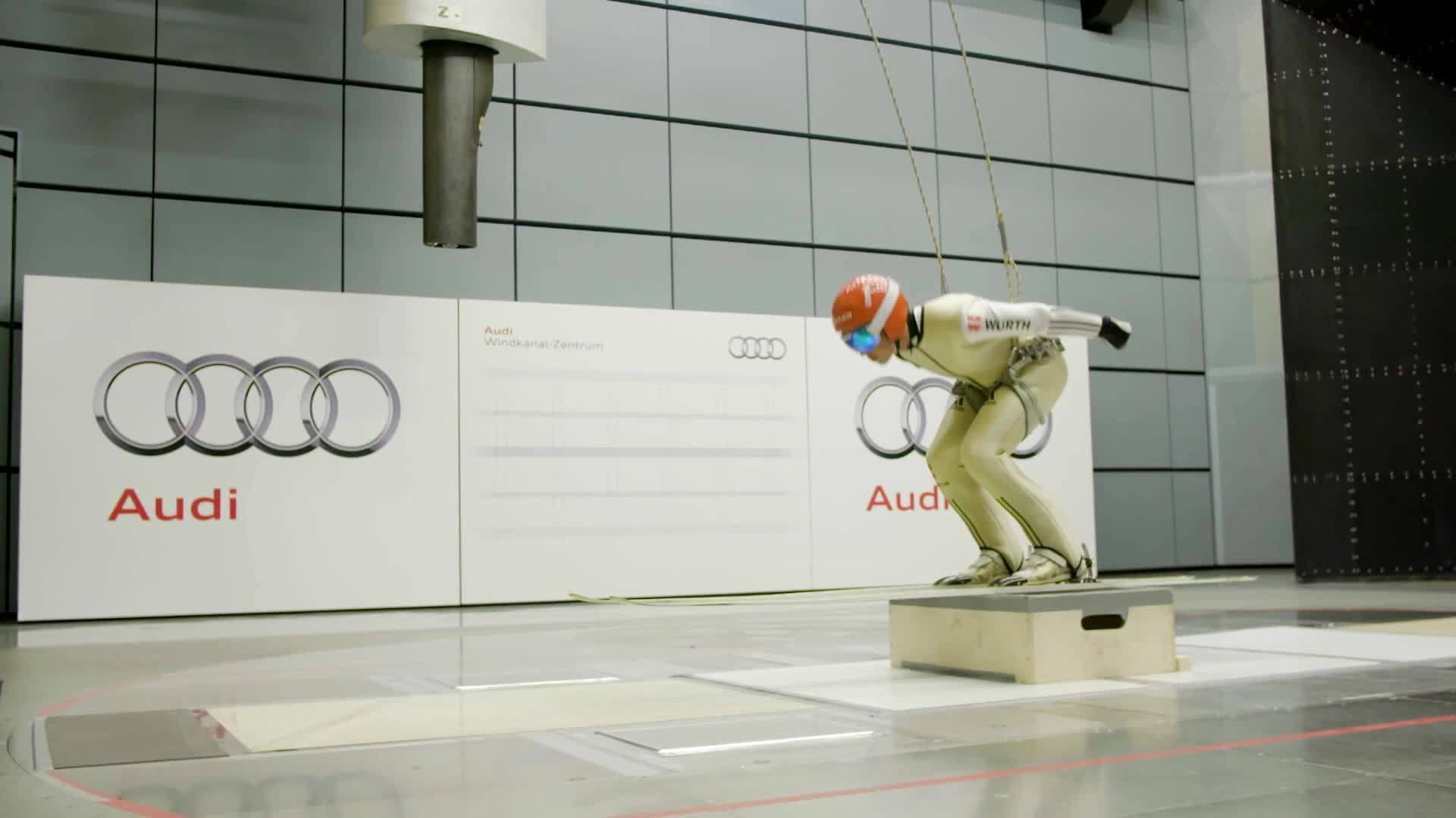 Skispringer und Nordische Kombinierer trainieren im Windkanal