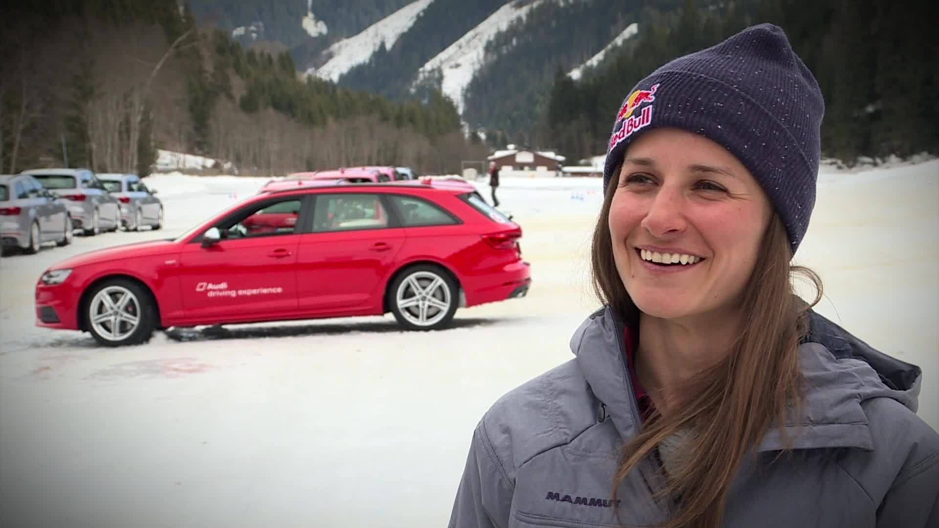 Drifts instead of cliffs - Freeride stars at the Audi driving experience