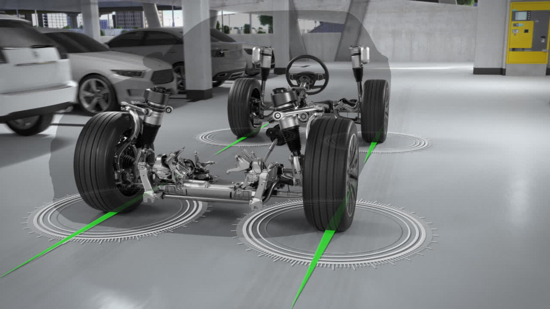 Animation: Die Dynamik-Allradlenkung des Audi A8