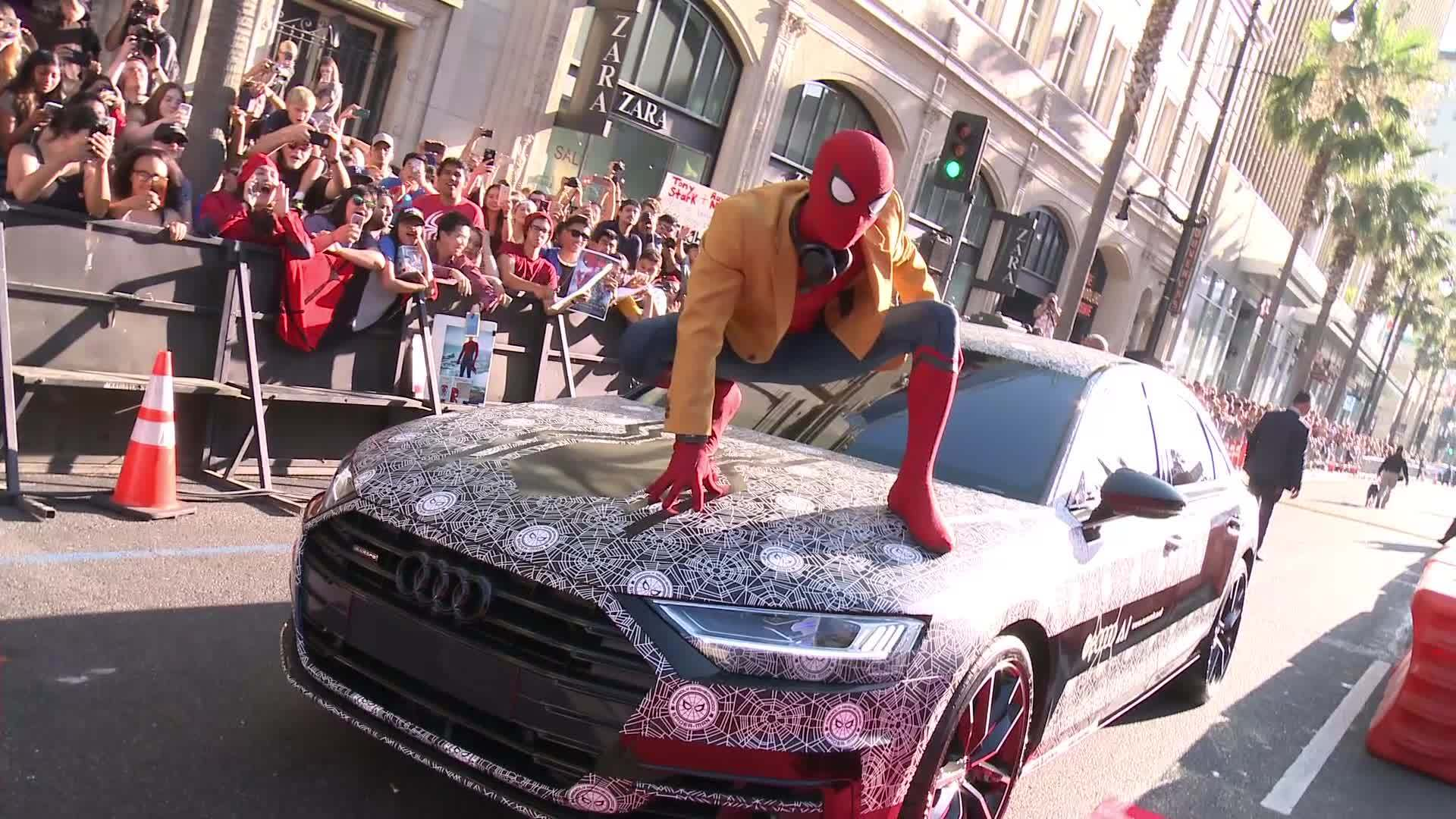 Audi A8 in disguise as surprise guest at the world premiere of 'Spider-Man: Homecoming' | Audi ...