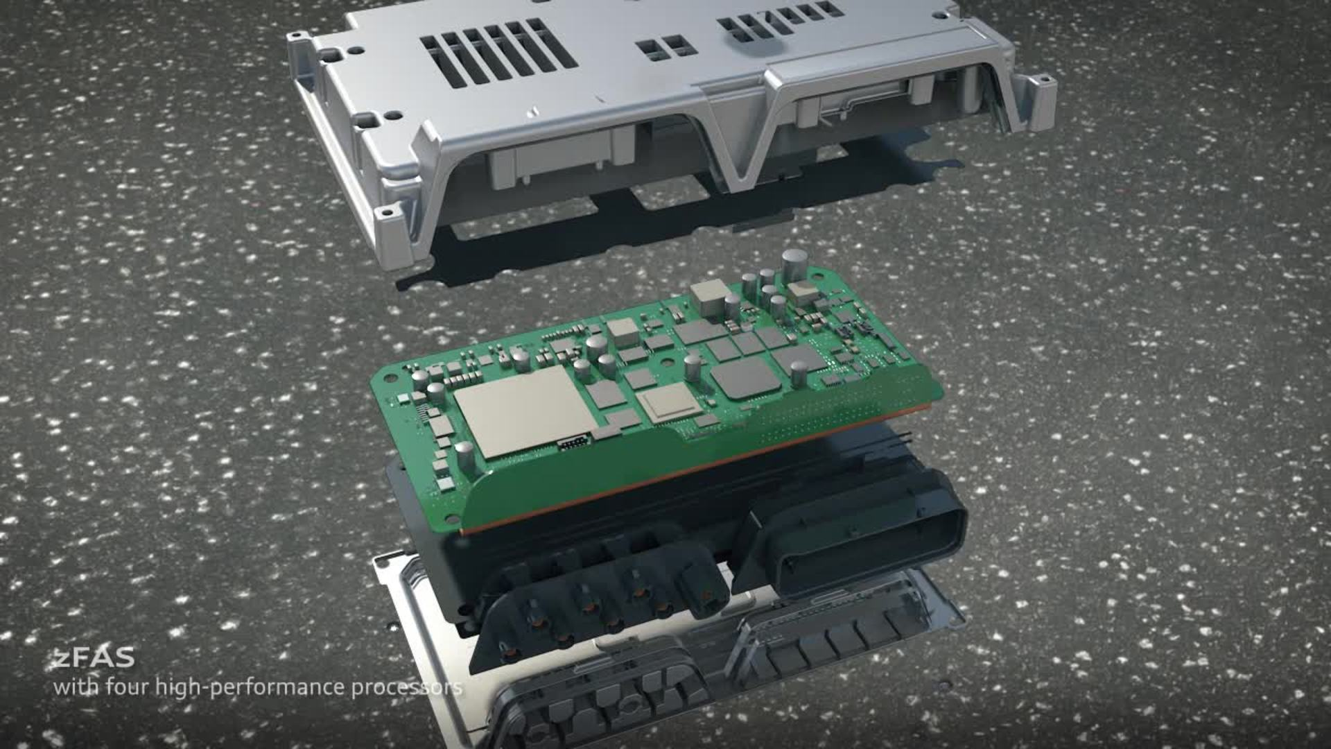Animation Audi A8 - zentrales Fahrerassistenzsteuergerät zFAS