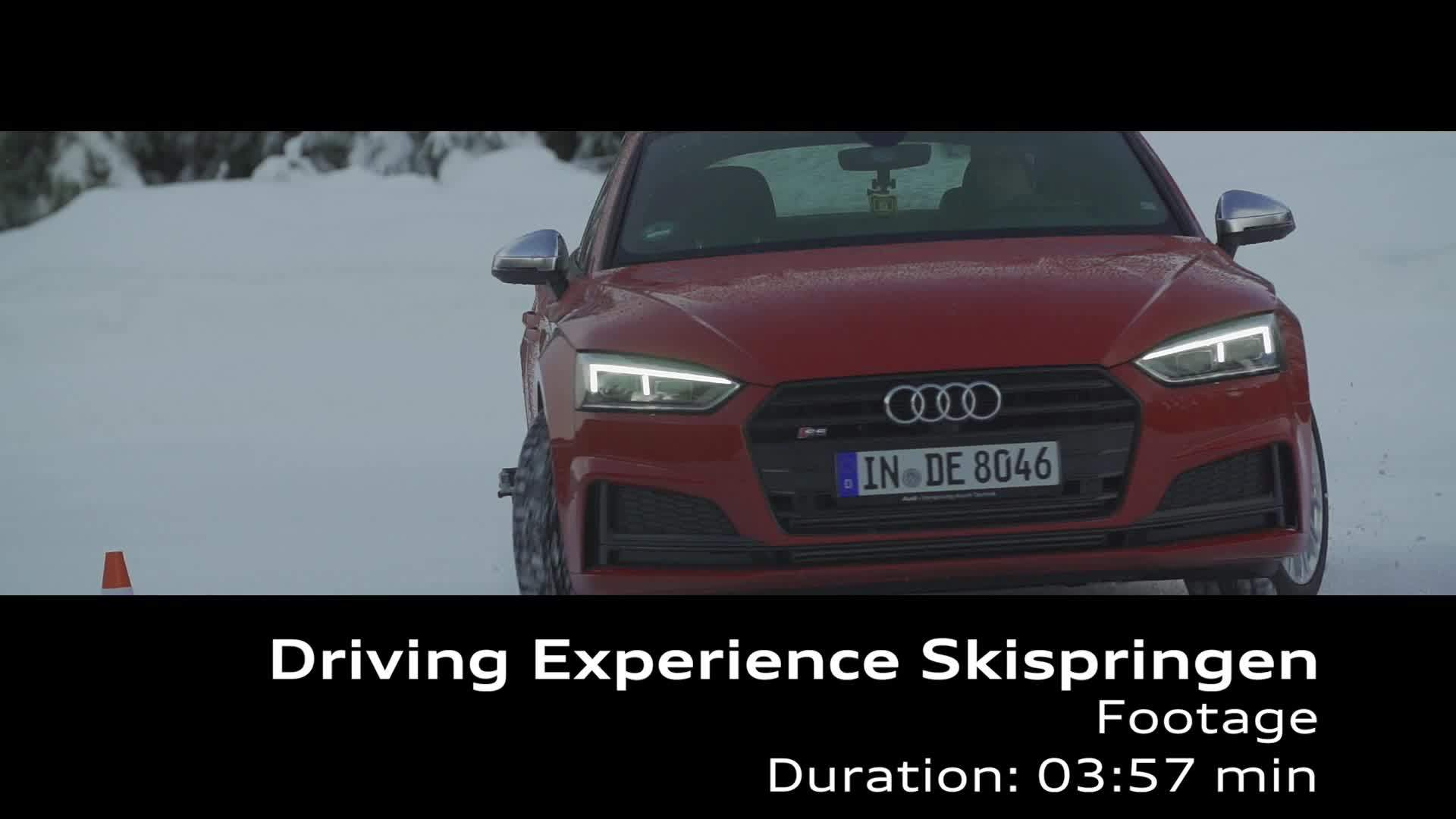 Ski athletes at Audi driving experience Footage