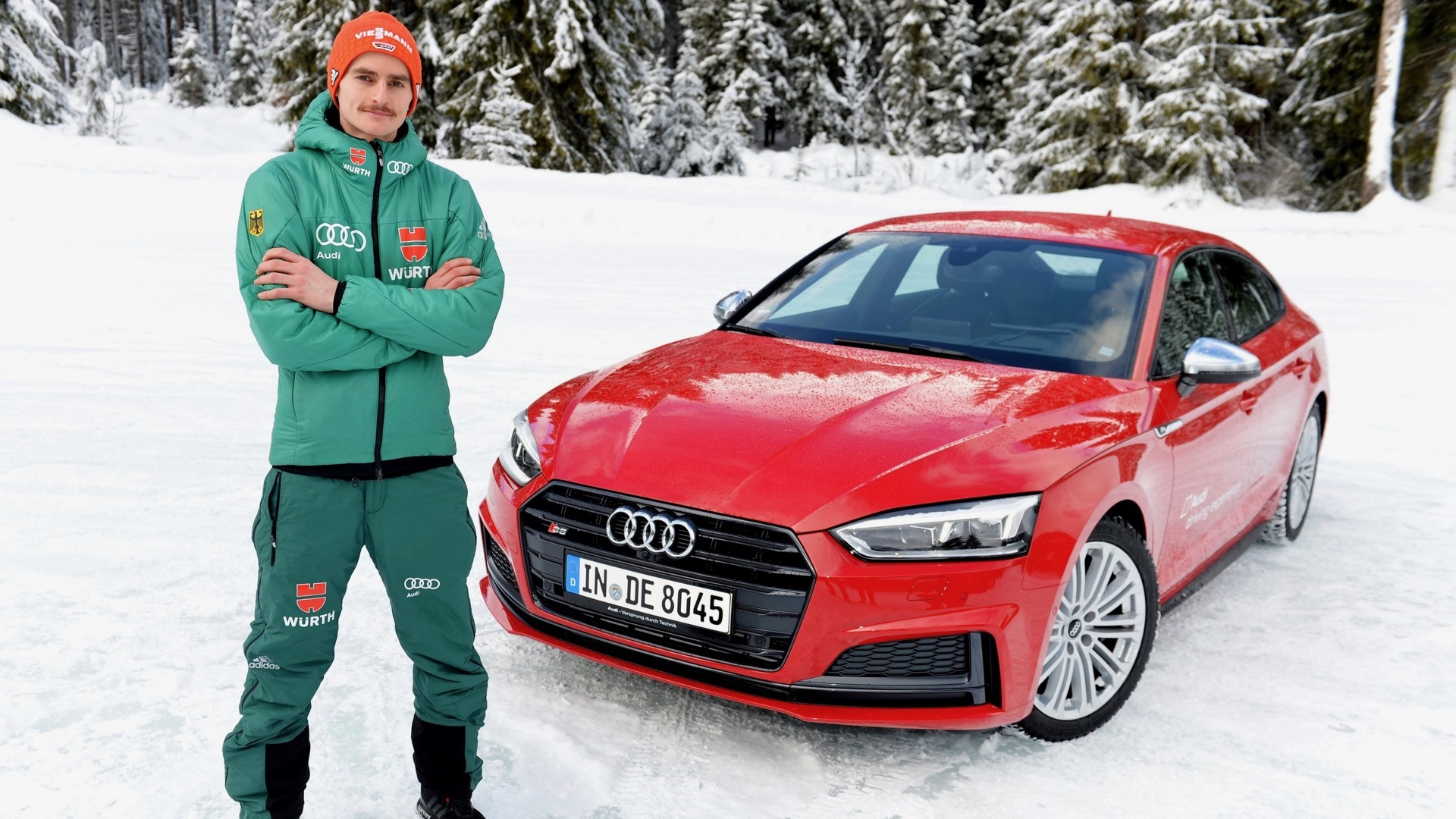 Deutsche Skispringer erleben Audi driving experience