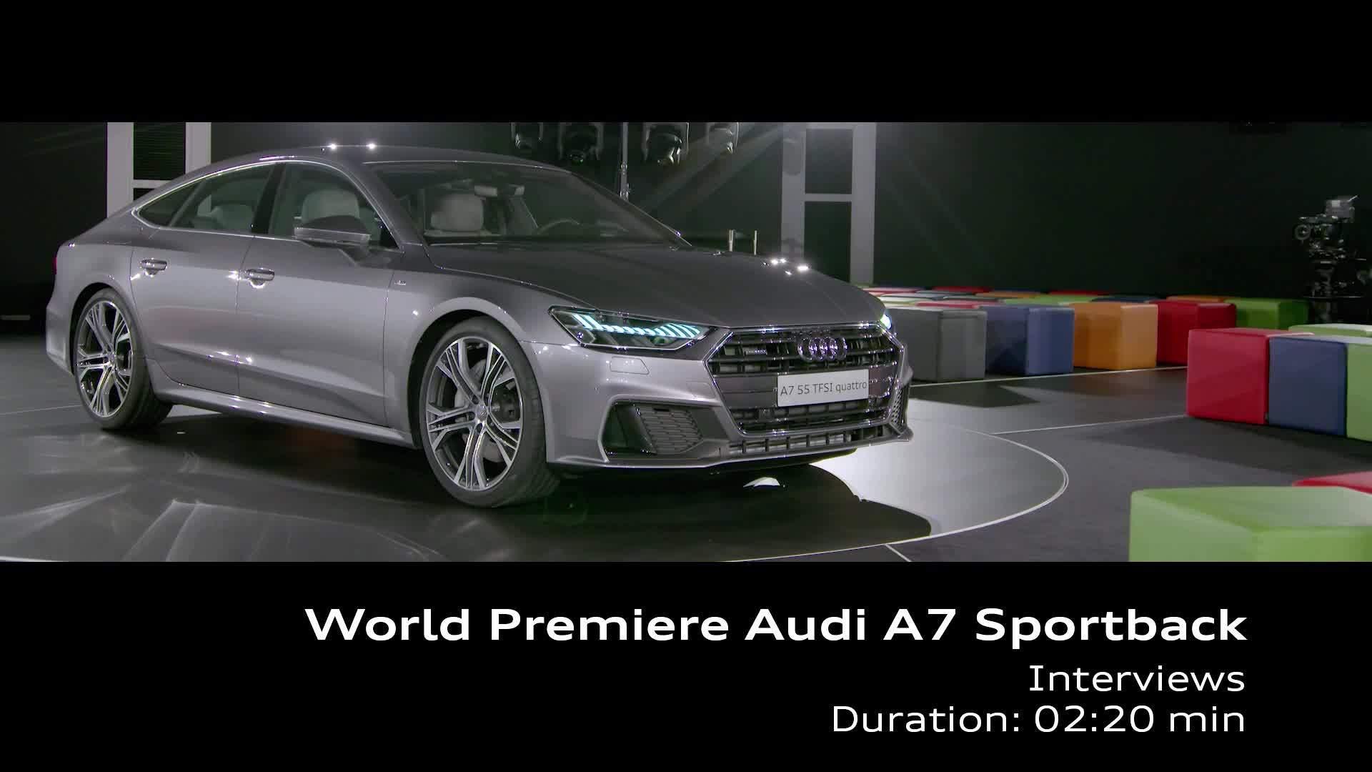 Audi A7 world premiere interviews Stadler, Mertens, Lichte