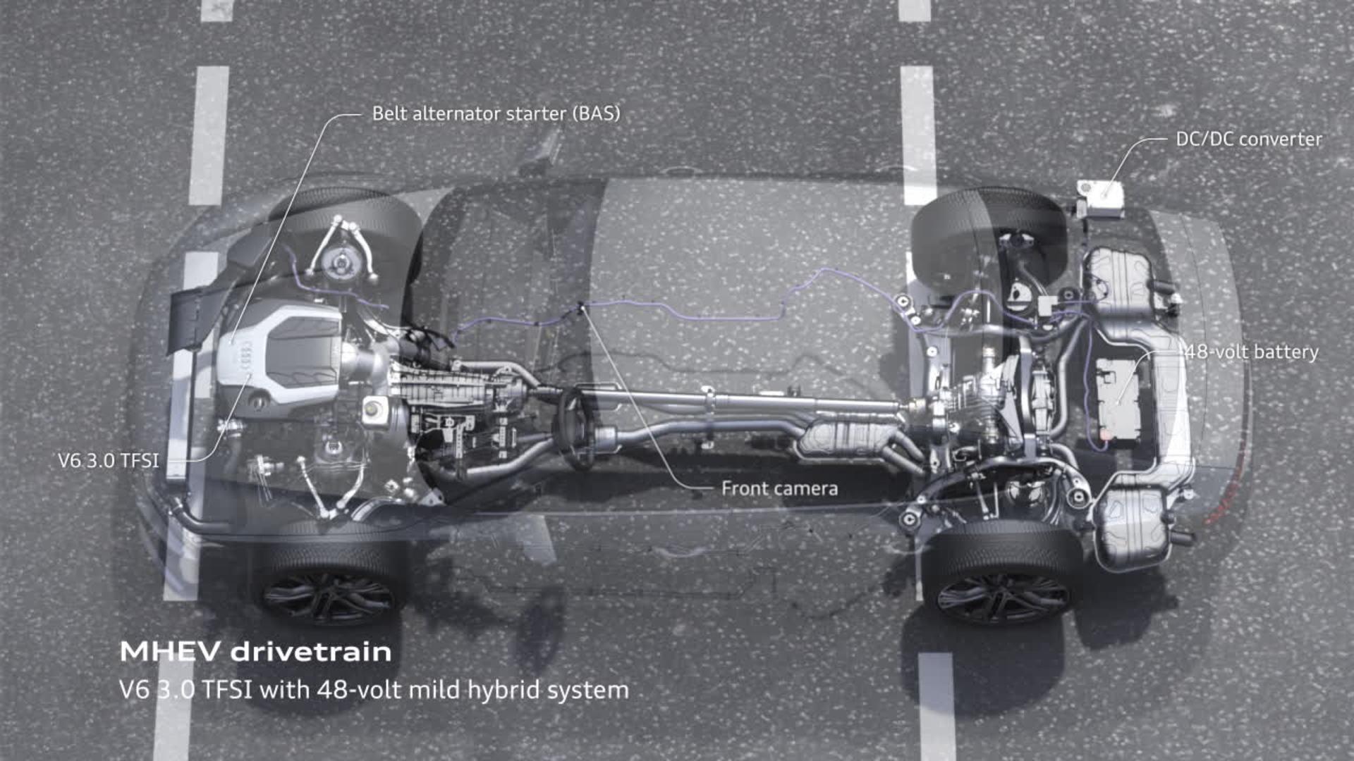 Audi A7 Animation mild hybrid system