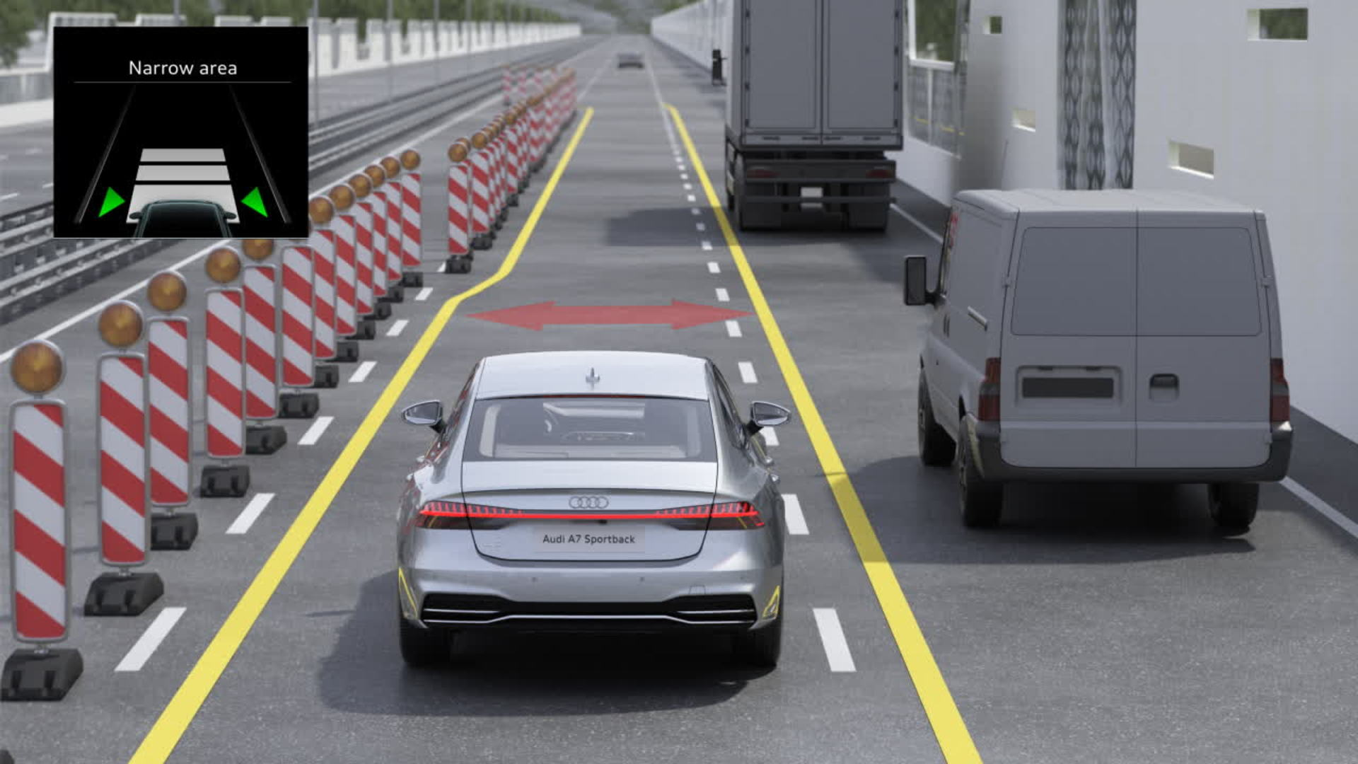 Audi A7 Animation narrowed road assist