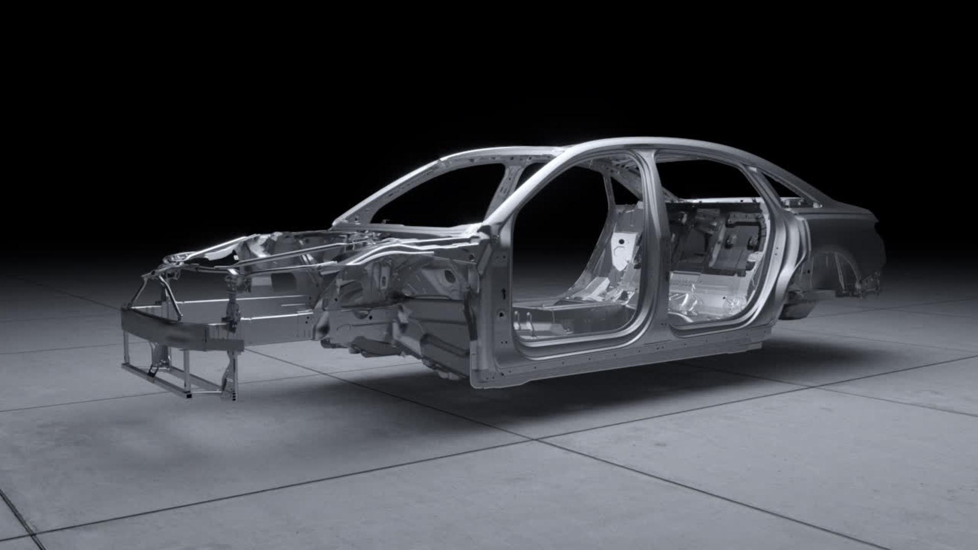 Animation Ausblick auf den neuen Audi A8 Space Frame mit einzigartigem Materialmix