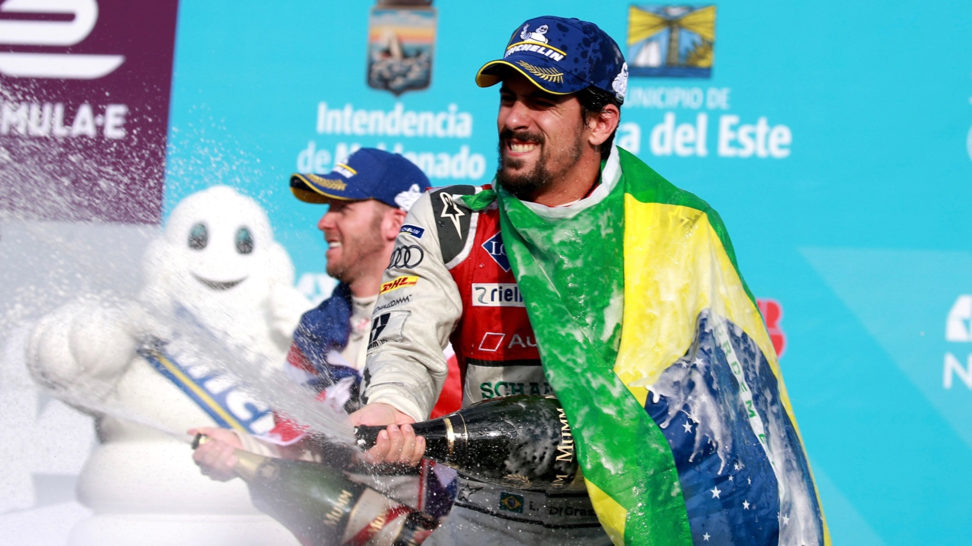 Champion Lucas di Grassi on the winners podium at the E-Prix in Uruguay