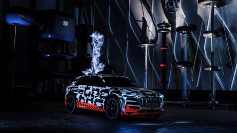 The Audi e-tron prototype in a Faraday cage