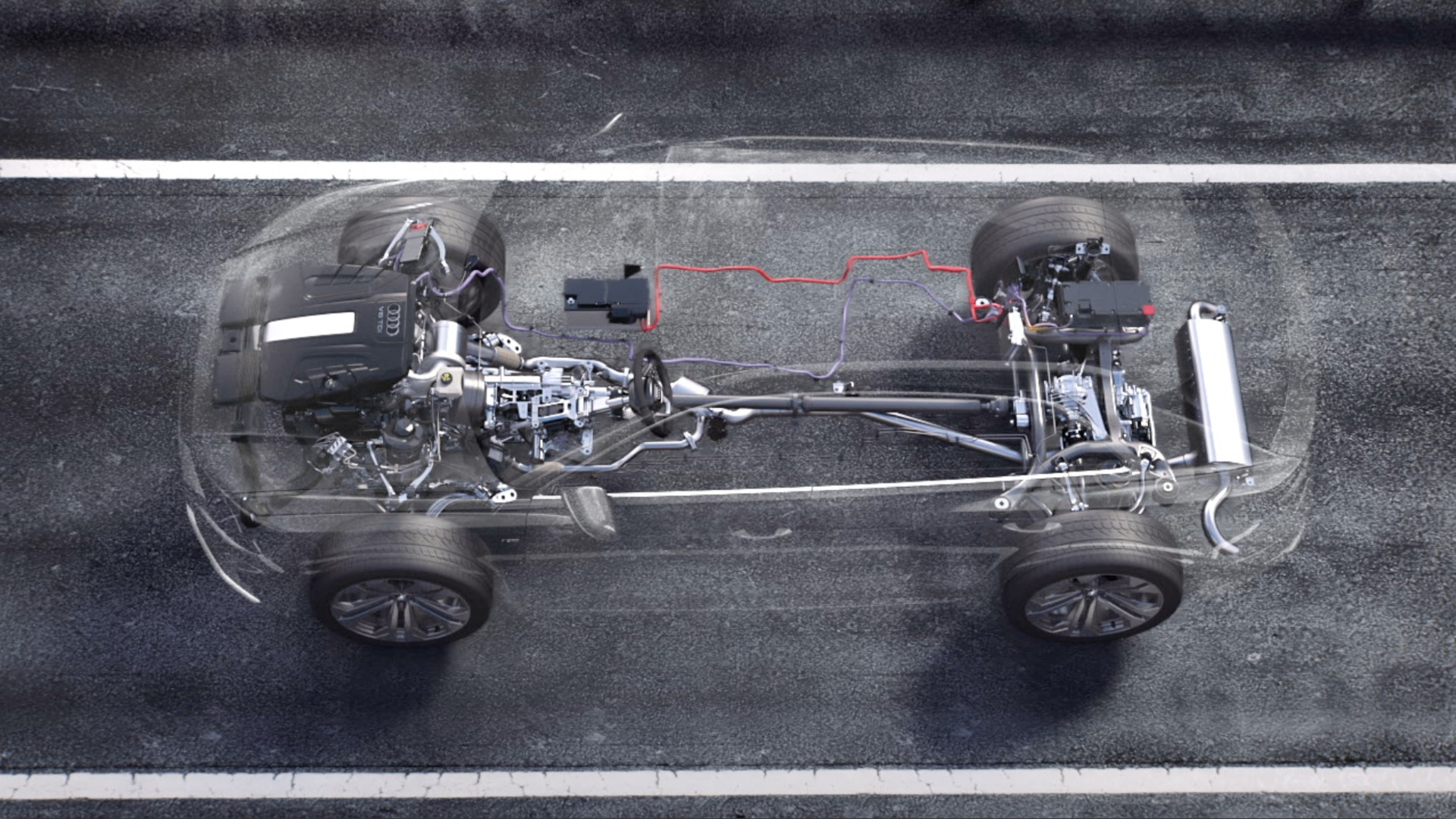 Animation Audi Q8 Mild-Hybrid-Technologie (MHEV)