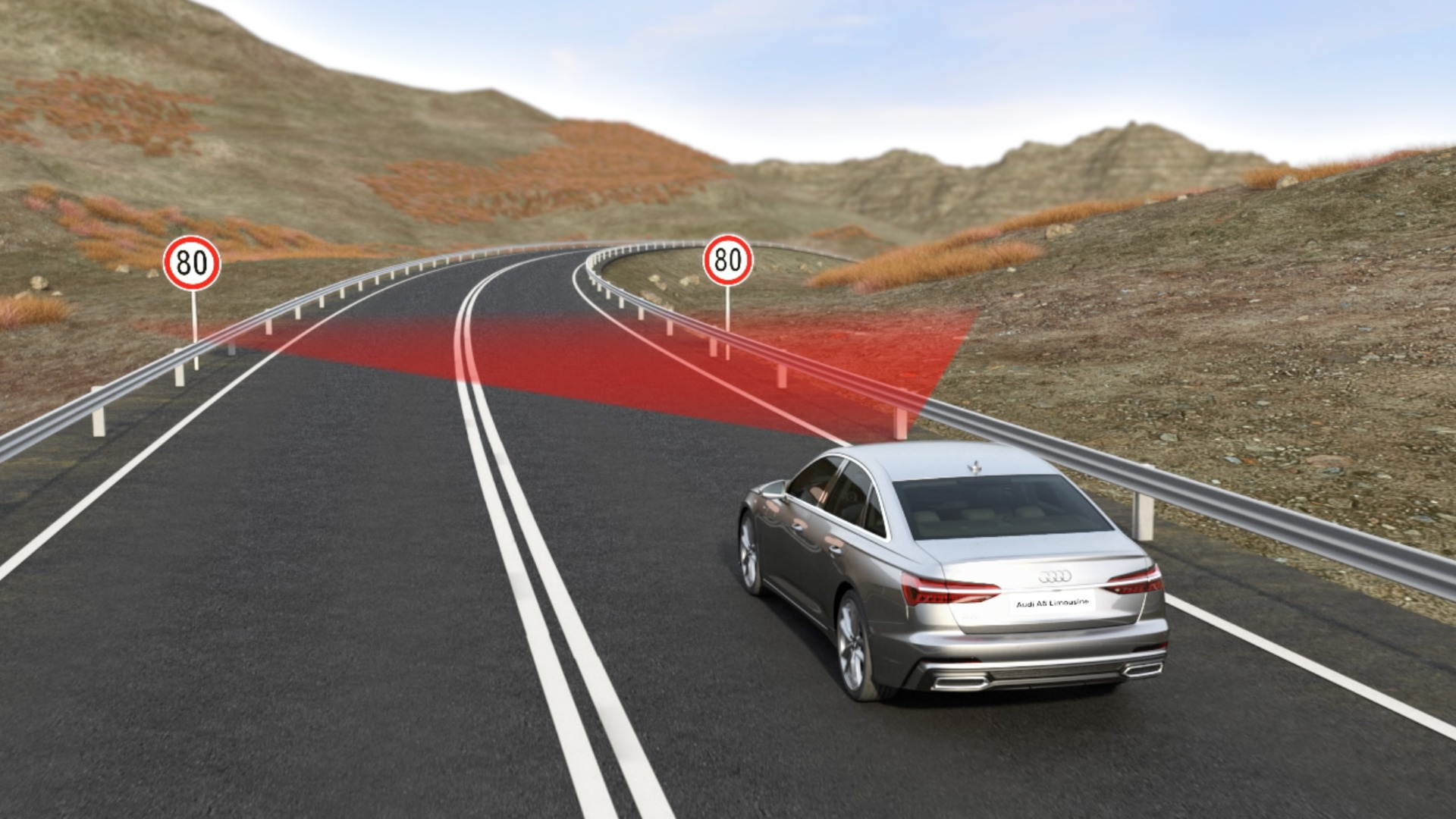 Animation Audi A6 Adaptiver Fahrassistent