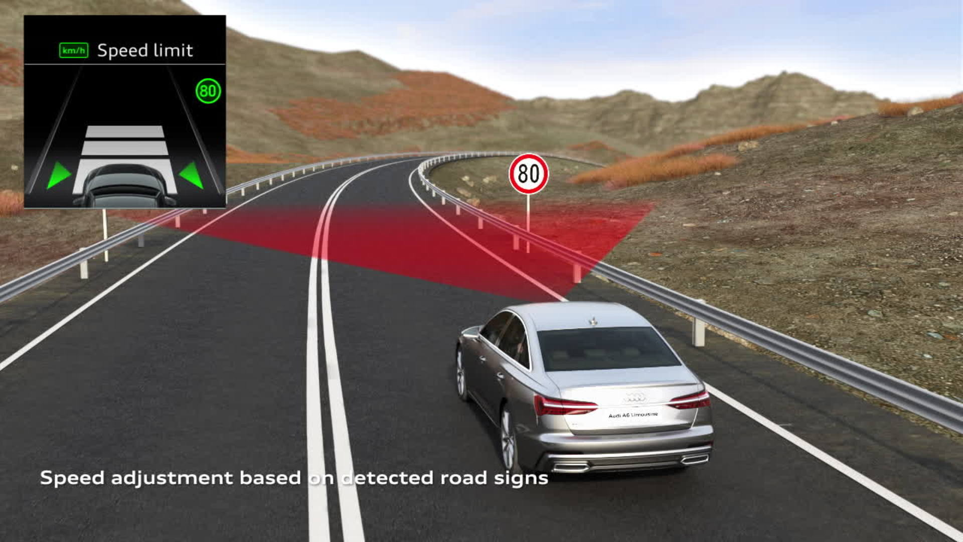 Animation Audi A6 Adaptive cruise assist