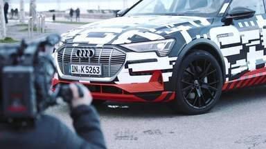 The Audi e-tron prototype on the streets of Geneva