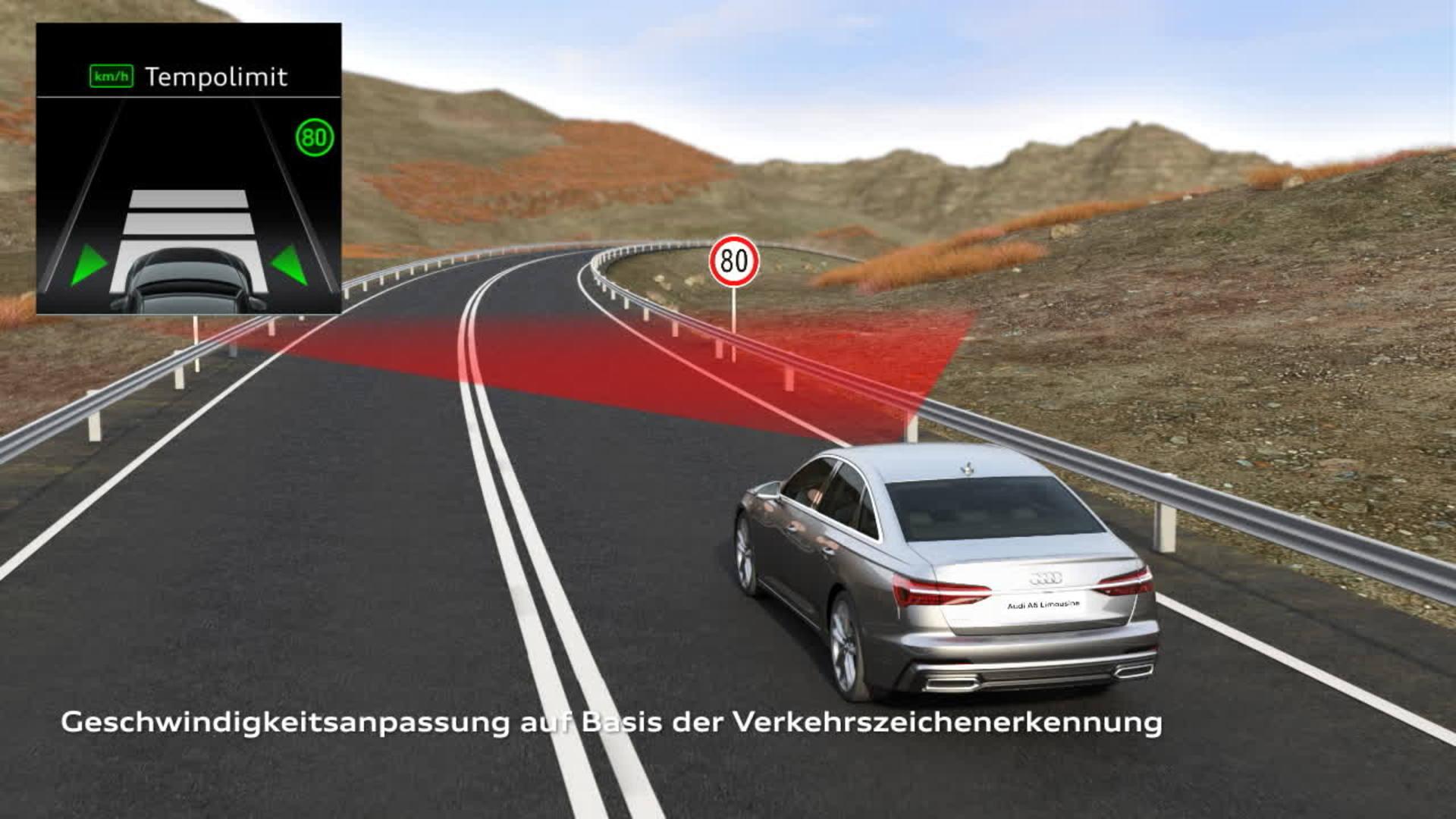 Animation Audi A6 Adaptiver Fahrassistent