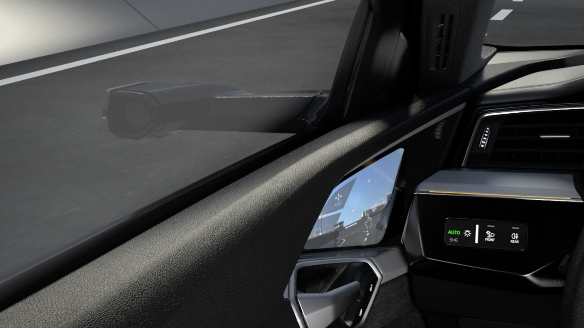 Virtual exterior mirrors of the Audi e-tron (animation)