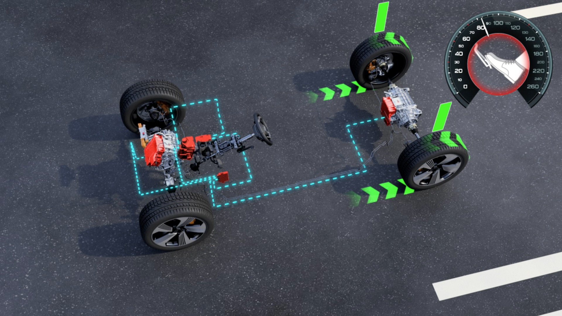 The recuperation system of the Audi e-tron (animation)