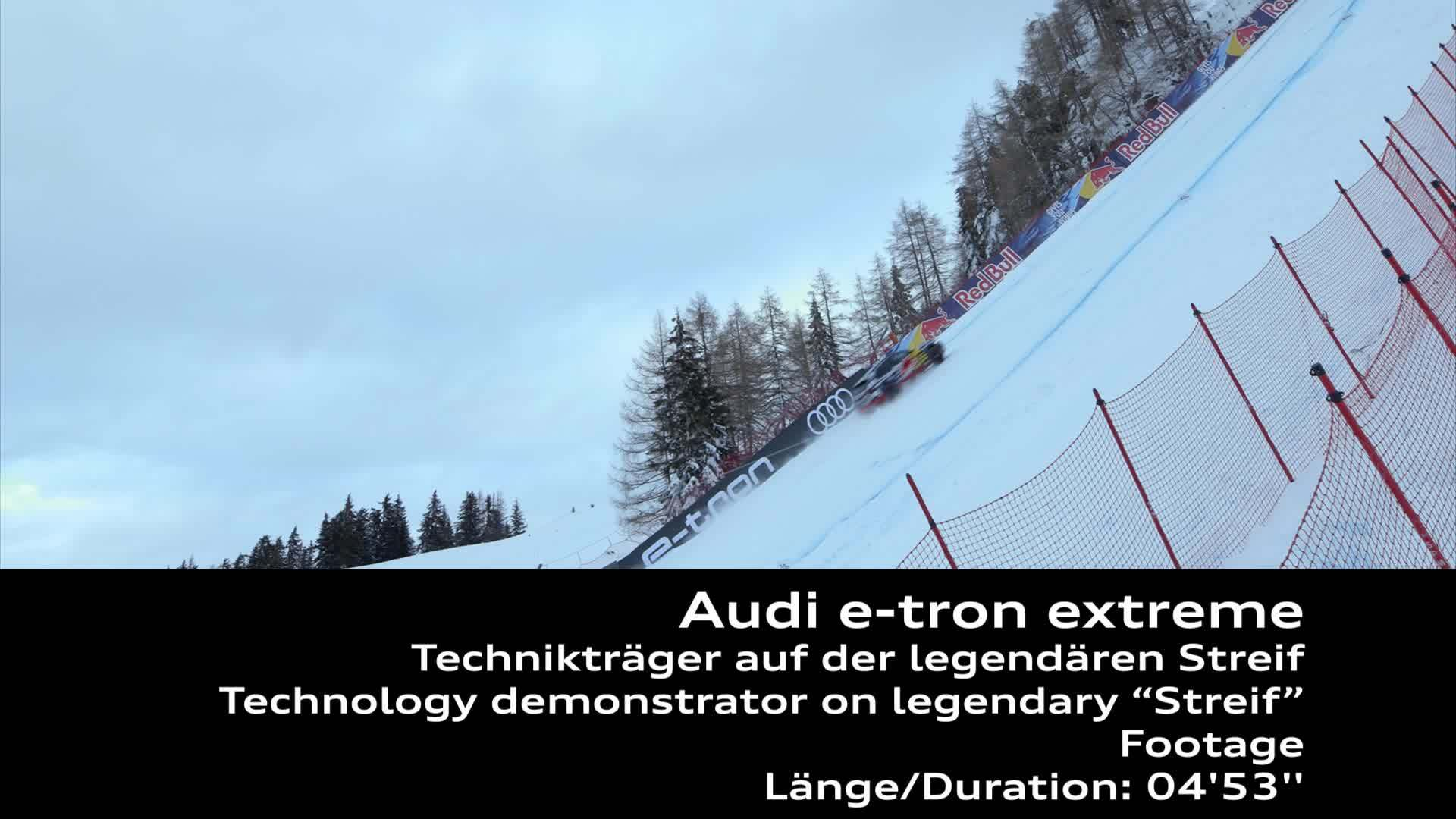 The Audi e-tron technology demonstrator on the legendary Streif (Footage)