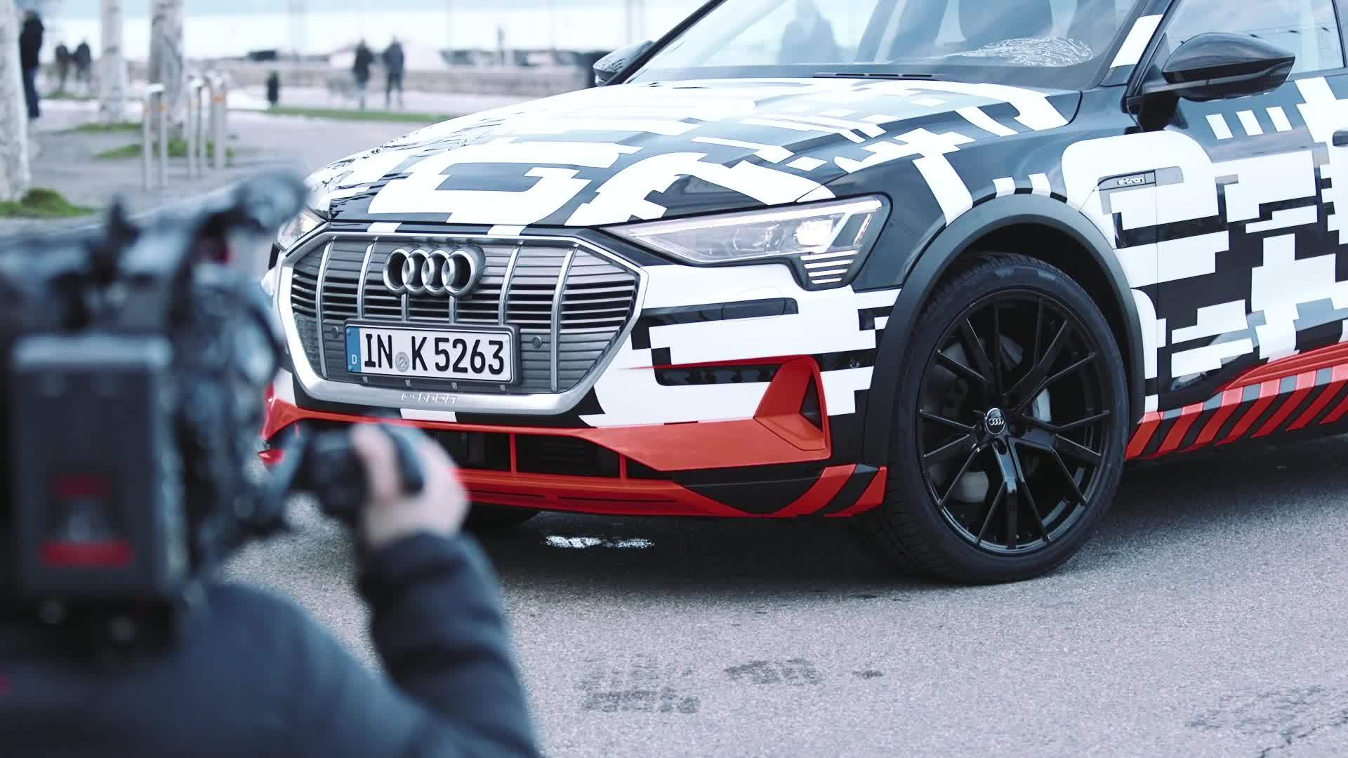 The Audi e-tron prototype on the streets of Geneva
