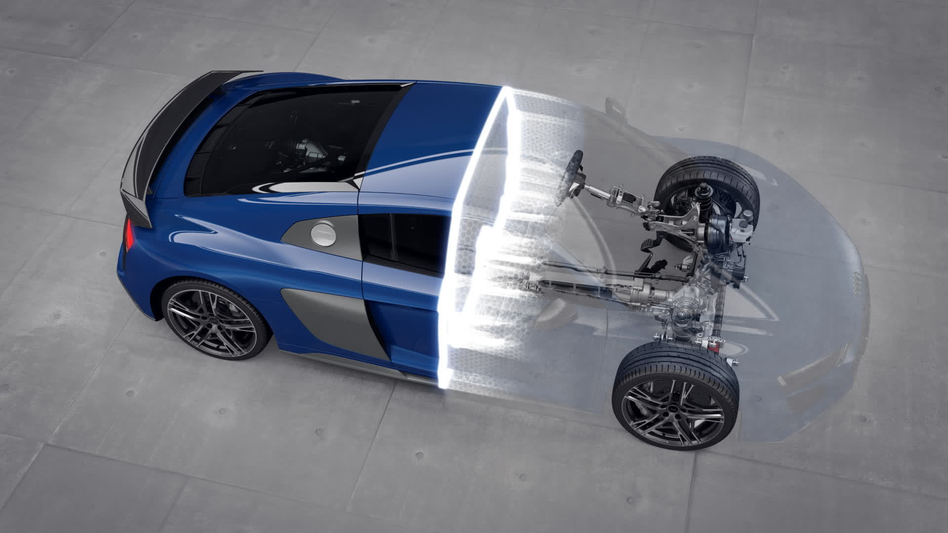 Audi R8 V10 performance quattro drivetrain (Animation)